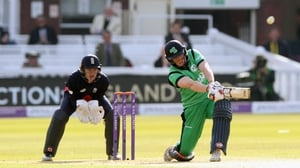 Kevin O'Brien in action for Ireland against England at Lord's