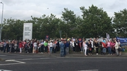 Hundreds are taking part in the protest vigil outside the hospital