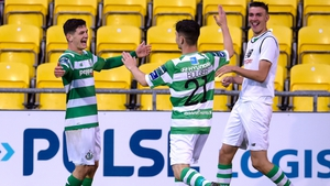 Shamrock Rovers' Trevor Clarke celebrates his goal with Aaron Bolger and Sean Boyd