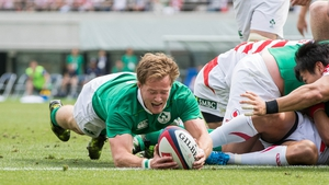 Kieran Marmion goes over for Ireland's third try