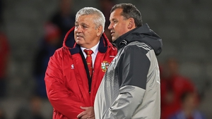 Lions head coach Warren Gatland in pre-match conversation with All Blacks assistant Ian Foster