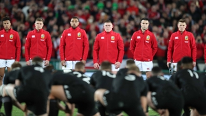 The Lions face down the All Blacks' haka in 2017
