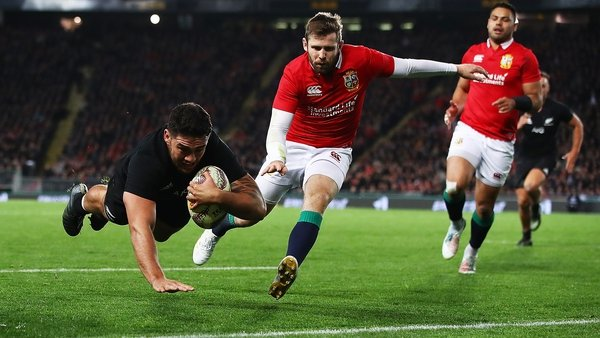 Codie Taylor touches down for the All Blacks