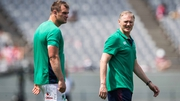 Ireland head coach (R) Joe Schmidt with Rhys Ruddock