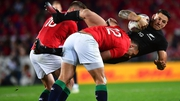 Lions' Owen Farrell and Ben Te'o tackle Sonny Bill Williams of the All Blacks