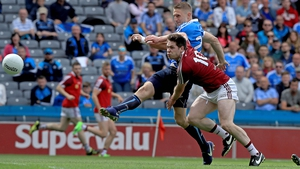 Eoghan O'Gara fires to the net against Westmeath