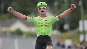 Ryan Mullen crosses the line to become the new national road race champion