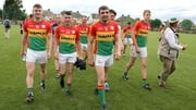Carlow players leave the field after their win in Ruislip