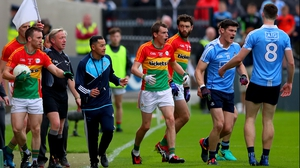Diarmuid Connolly (2nd from R) is not eligible to play again until the All-Ireland semi-final stage
