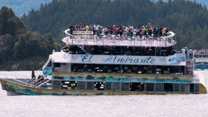 Passengers seen on board the tourist boat as it began sinking
