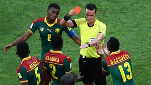 Cameroon's Emest Mabouka was sent off on the advice of the VAR during the Confederations Cup