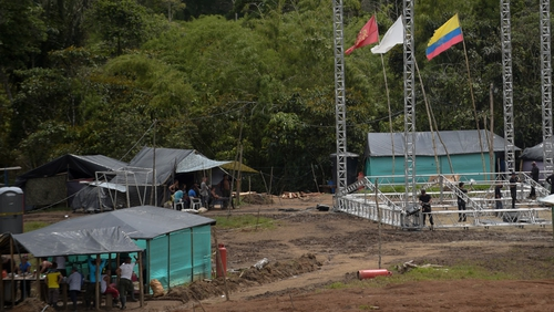 FARC rebels and logistics staff at the Transitional Standardization Zone Mariana for the final disarmament ceremony