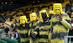 Fans of the Hurricanes in somewhat unusual attire