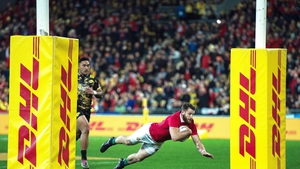 Tommy Seymour touches down for the first try of the game in Wellington