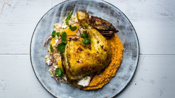 Turmeric & Ginger Spatchcocked Chicken with Roast Vegetables