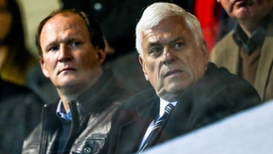 Simon Grayson (L) with Peter Ridsdale at the St Pat's v Cork City game at Richmond Park in April