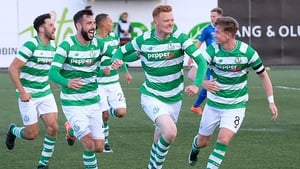 Shamrock Rovers players celebrate the goal that secured an away win in Iceland