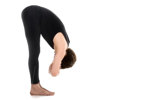Intense forward bending pose