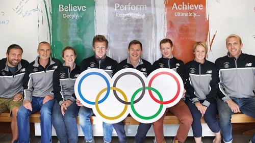 David Gillick (fourth from R) is the new chair of the OCI Athletes Commission