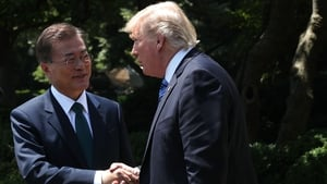 Moon Jae-in and Donald Trump agreed to further sanctions in a telephone call today
