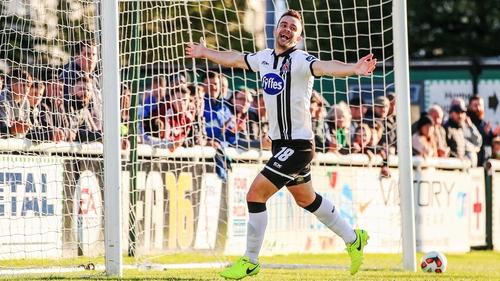 Robbie Benson celebrates his second goal