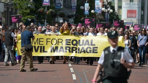 The ban on same-sex marriage is one of the disputes at the heart of the power-sharing impasse in Belfast