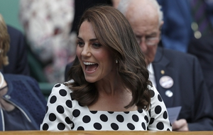 Kate Middleton watched Britain's Andy Murray play Kazakhstan's Alexander Bublik.
