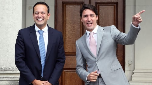 Leo Varadkar welcomes Canadian Prime Minister Justin Trudeau to Ireland