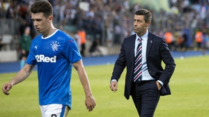 Rangers manager Pedro Caixinha (R) and Ryan Jack after they were knocked out of the Europa League