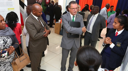 Irish Ambassador to Kenya Vincent O'Neill talks to students at the launch of Young Scientist Kenya (pic: Irish Embassy Twitter)