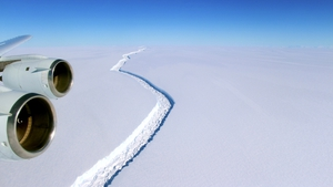 A handout photo made available by NASA shows the crack in the Larsen C ice shelf in the Antarctica