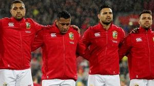 (L-r): Lions' Taulupe Faletau, Mako Vunipola, Ben Te'o and Rhys Webb