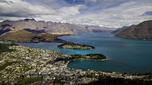 Queenstown on the shores of Lake Wakatipu with the Remarkables mountain range in the background.