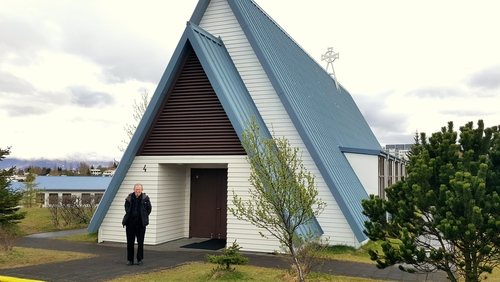 Father Denis O'Leary outside the Mariukirkja, St. Mary's Church, Reykjavik