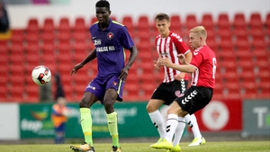 The towering Paul Onuachu scored three of Midtjylland's four goals at the Showgrounds