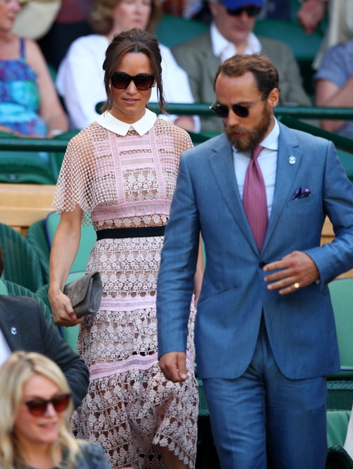 Stylish siblings Pippa and James Middleton arrive at centre court.