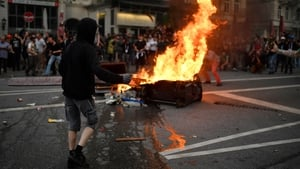 Protesters burn barricades in the Schanze district in Hamburg