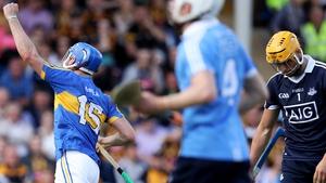 Tipperary's John McGrath celebrates scoring his second goal