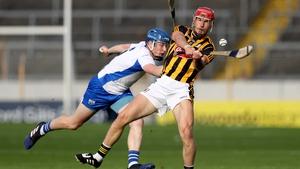 Cillian Buckley of Kilkenny is pressured by Waterford's Aussie Gleeson