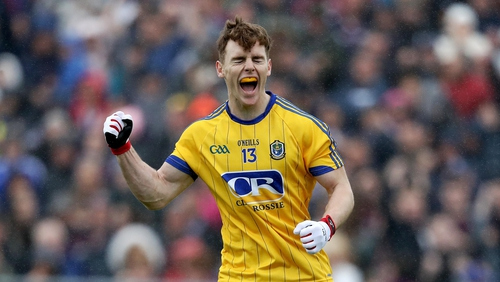 Cian Connolly celebrates scoring Roscommon's opening goal