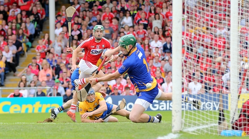 Alan Cadogan watches his strike hit the net for Cork