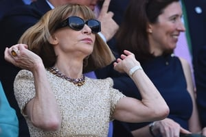 Vogue editor Anna Wintour wore a dazzling ring and her usual statement sunglasses.