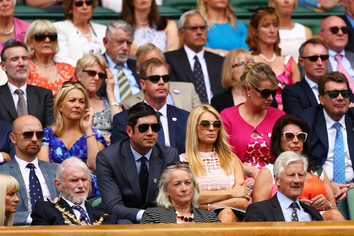 Matt Dawson, Vernon Kay and Tess Daly look on from the royal box. Tess is wearing a pink lace dress, similar to Pippa Middleton, from French label Sandro.