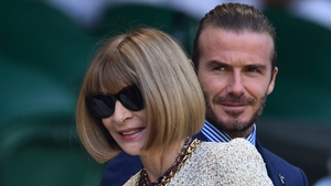 David Beckham and Anna Wintour take their seats at centre court.