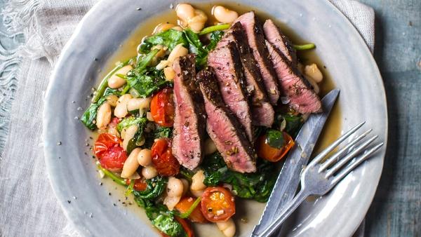 Donal Skehan's 5 min Lamb Steak & Quick Bean Stew