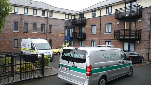 Emergency services at the scene at Riverside Apartments
