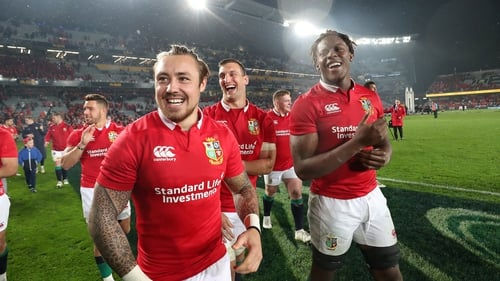 Lions players applauding their supporters after the third test in Eden Park