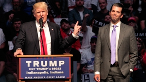 Donald Trump introduces his son at a rally during the campaign