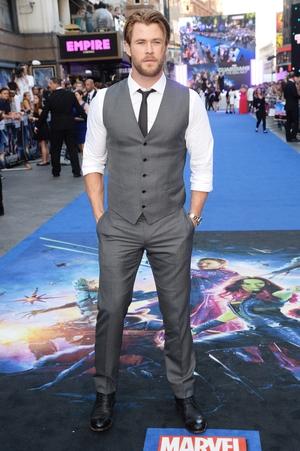 Chris loves a good waist coat. He's sporting a new mid-length haircut for the 'Guardians Of The Galaxy' premiere in 2014 wearing Dolce & Gabbana.