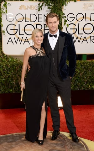 With this velvet jacket, bow tie and waistcoat from Dolce & Gabbana, Chris Hemsworth is nothing but class with his wife Elsa at the Golden Globes in 2014.